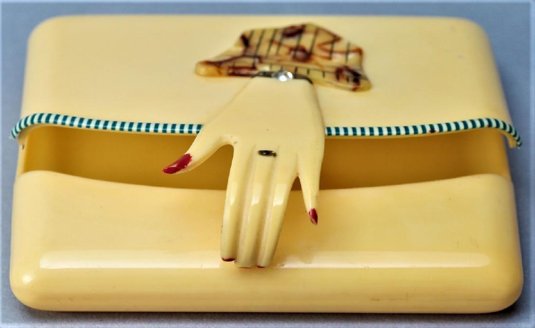 Vintage Art Deco Celluloid Hand Compact - 3