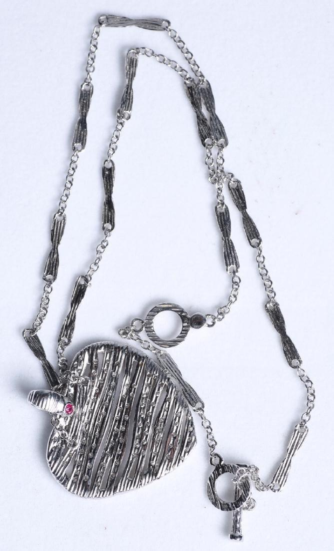 18K Roberto Coin 1ct. Elefantino Diamond Heart Necklace
