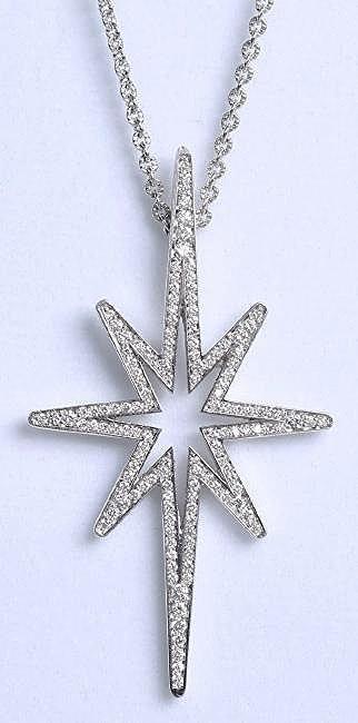 Ron Hami 18K White Gold, Diamond Star Necklace