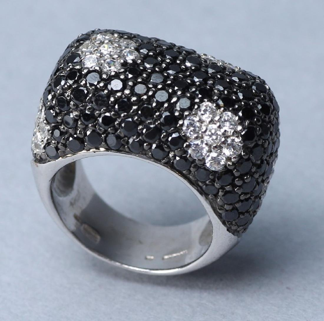 Sterling Cocktail Ring, Black and Clear Crystal
