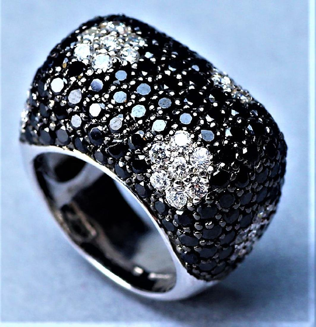 Sterling Cocktail Ring, Black and Clear Crystal - 3