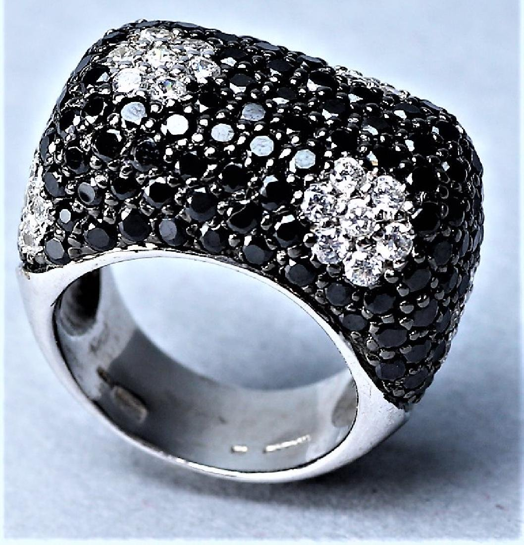 Sterling Cocktail Ring, Black and Clear Crystal - 4