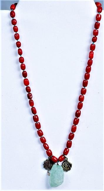 Natural Red Coral Bead/Charm Necklace