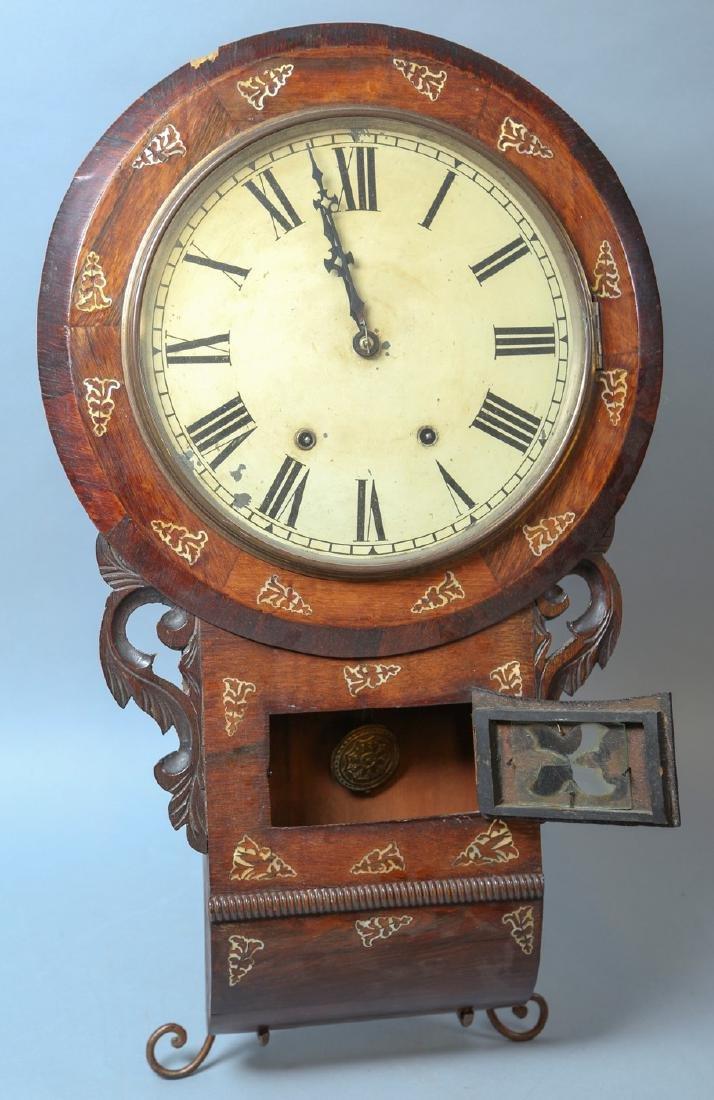 c1890 New Haven Wall Clock, MOP Inlay