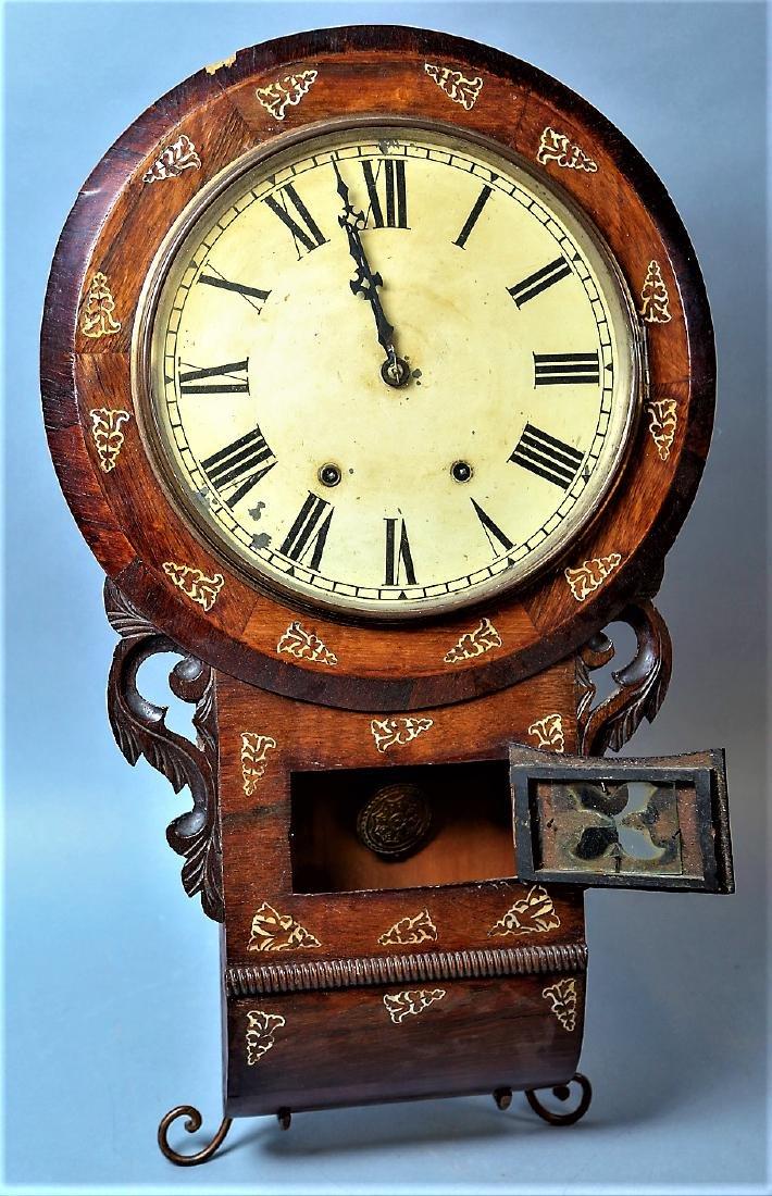 c1890 New Haven Wall Clock, MOP Inlay - 2