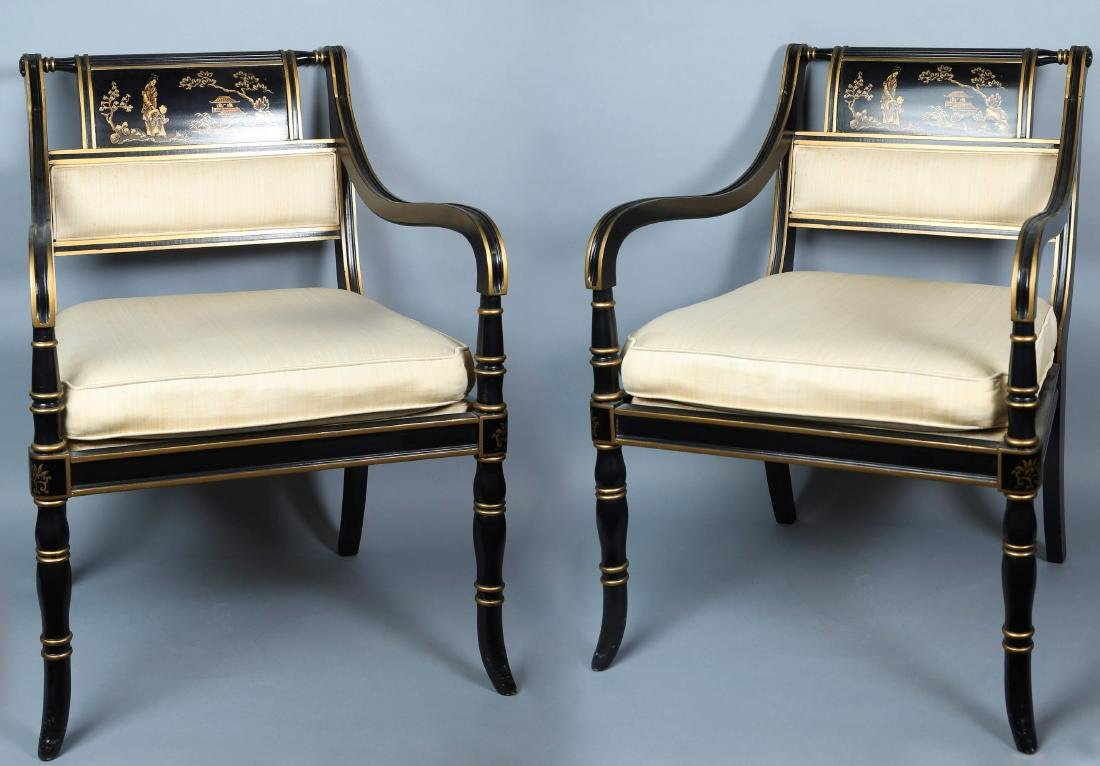 Vintage Drexel Heritage Black Lacquer Style Chairs