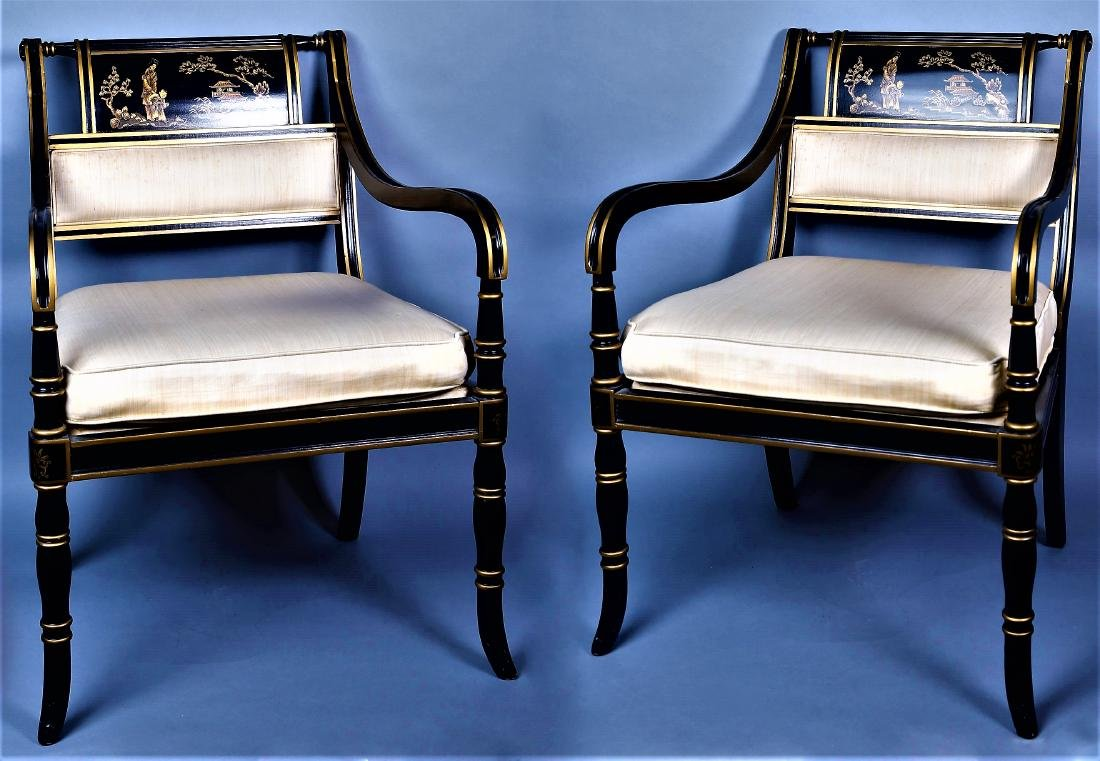 Vintage Drexel Heritage Black Lacquer Style Chairs - 2