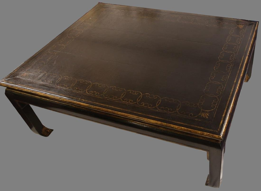 Beautiful Vintage Black Lacquer Style Coffee Table