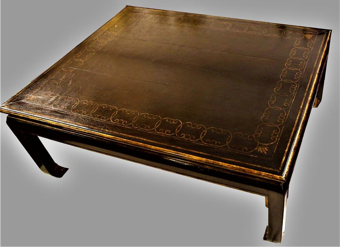 Beautiful Vintage Black Lacquer Style Coffee Table - 4