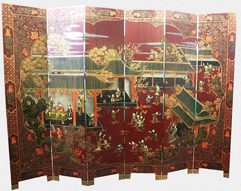 Vintage 6 Panel Asian Folding Screen Hand Painted