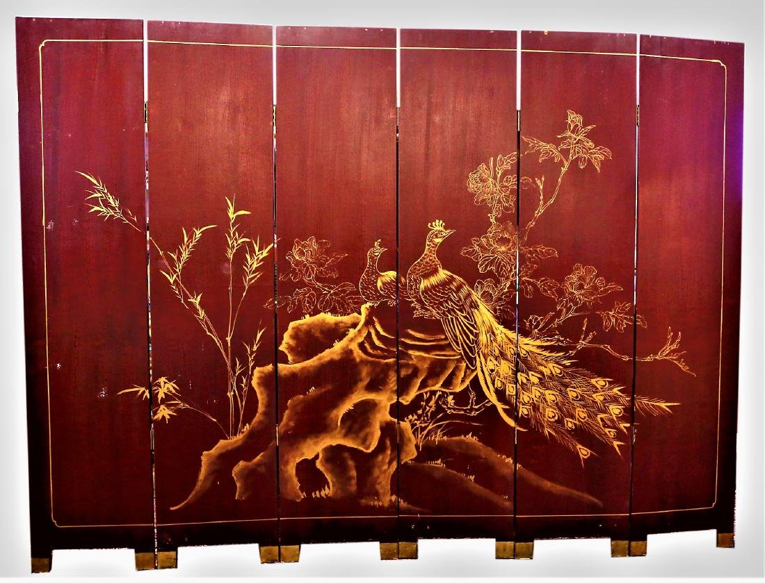 Vintage 6 Panel Asian Folding Screen Hand Painted - 3