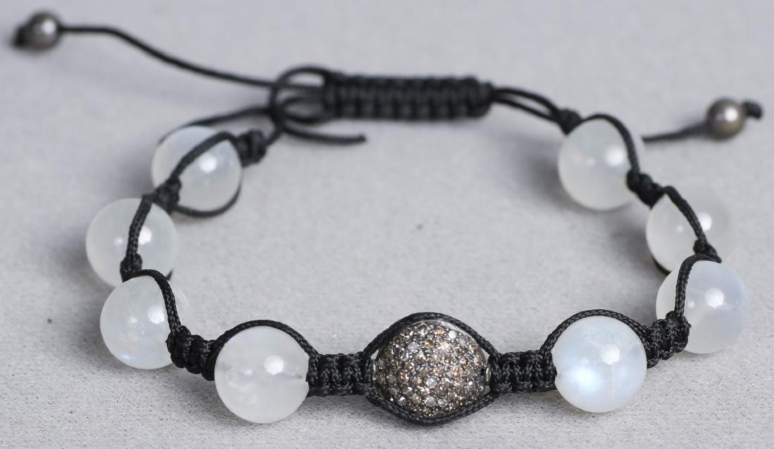 Moonstone and Chocolate Diamond Cord Bracelet