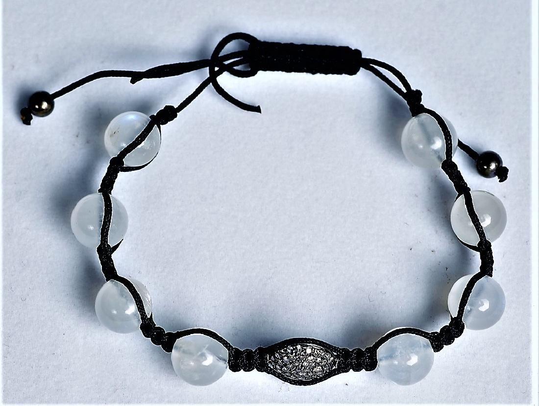 Moonstone and Chocolate Diamond Cord Bracelet - 2