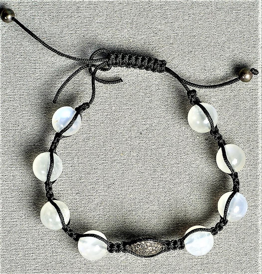 Moonstone and Chocolate Diamond Cord Bracelet - 4
