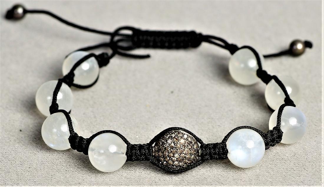 Moonstone and Chocolate Diamond Cord Bracelet - 5