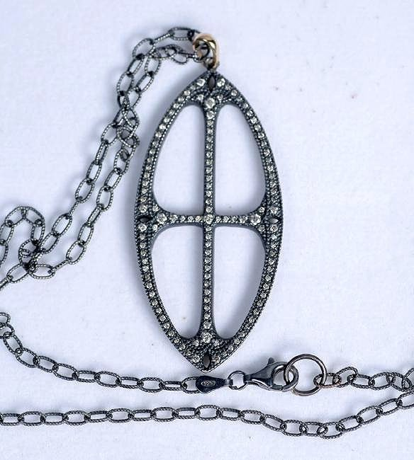 Sterling, Gold and Diamond Cross Pendant Necklace