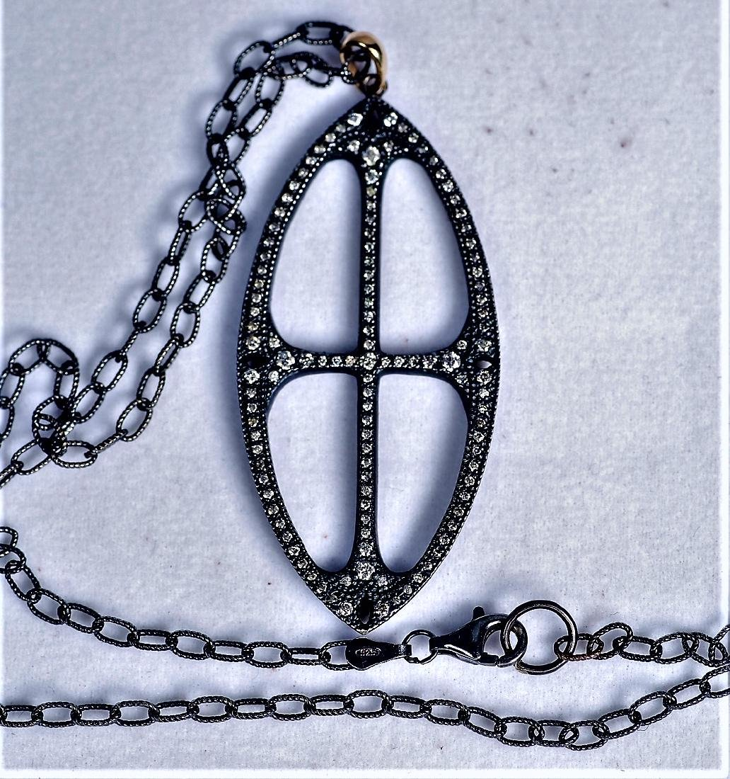 Sterling, Gold and Diamond Cross Pendant Necklace - 2