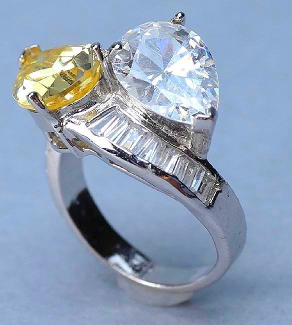 Sterling Silver Citrine & Crystal Cocktail Ring