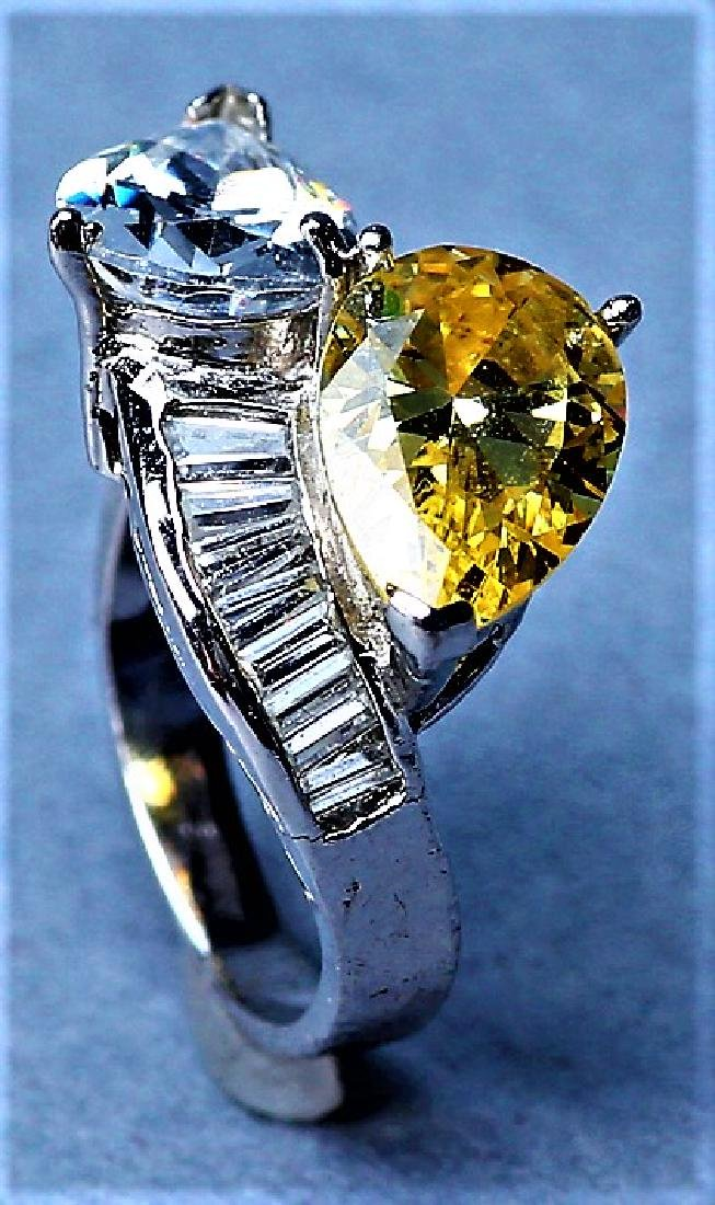 Sterling Silver Citrine & Crystal Cocktail Ring - 2