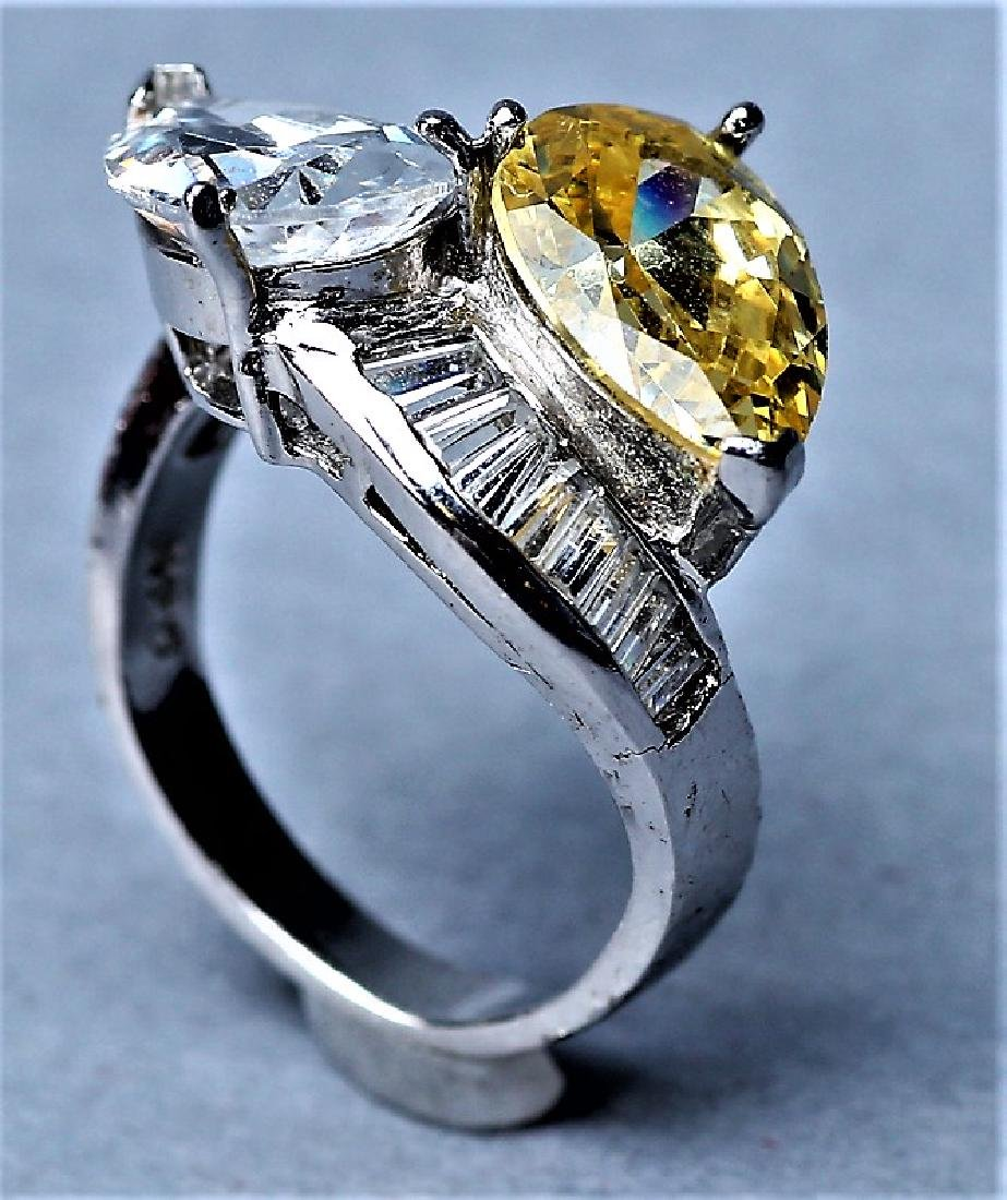 Sterling Silver Citrine & Crystal Cocktail Ring - 3
