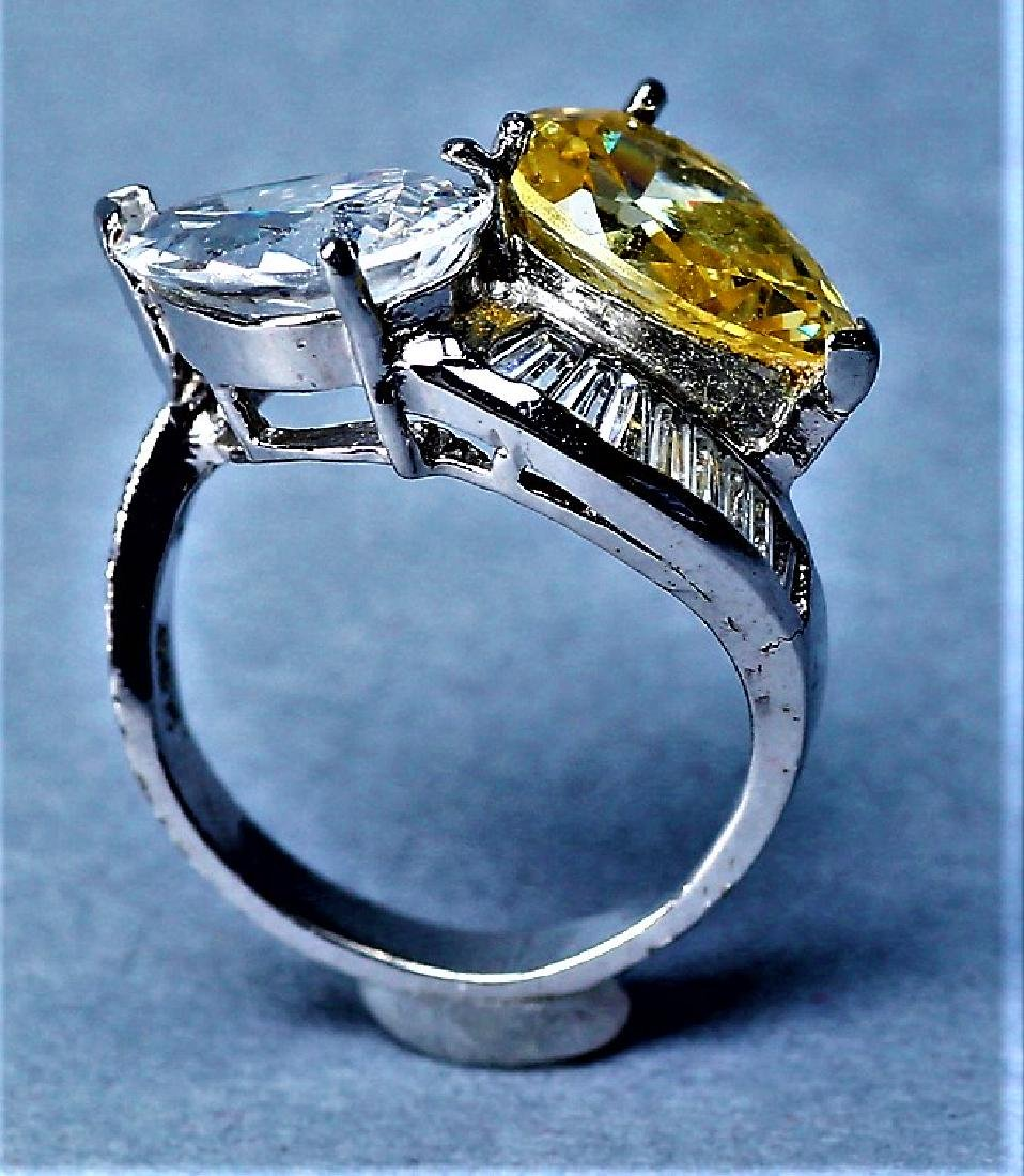 Sterling Silver Citrine & Crystal Cocktail Ring - 4