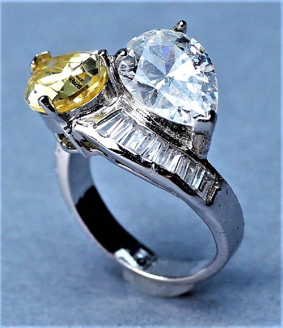 Sterling Silver Citrine & Crystal Cocktail Ring - 5