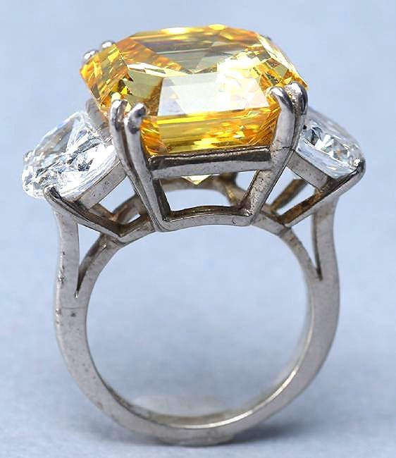 Sterling Silver, Large Citrine Colored Crystal Cocktail