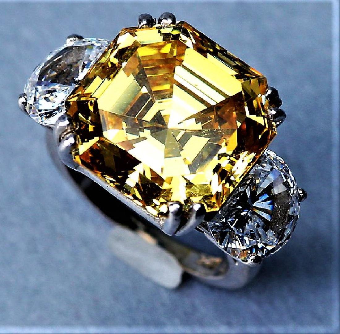 Sterling Silver, Large Citrine Colored Crystal Cocktail - 7