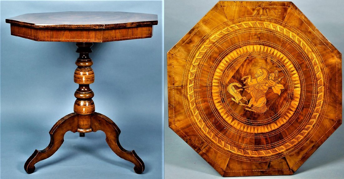 19th C Italian St. George Parquetry Table