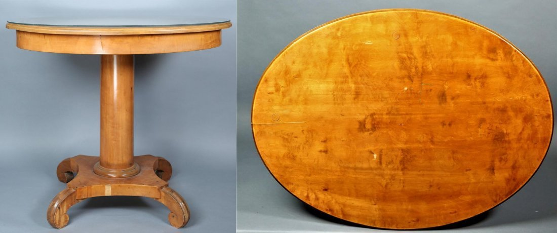 c1920 Burled Walnut Oval Accent Table