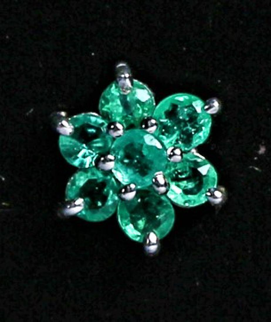 Platinum and Emerald Post Earring Pair - 2