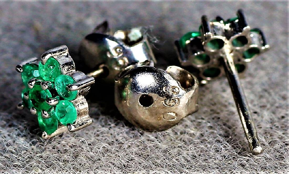 Platinum and Emerald Post Earring Pair - 4