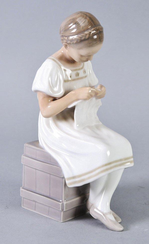 Vintage Bing & Grondahl Girl Knitting Figurine