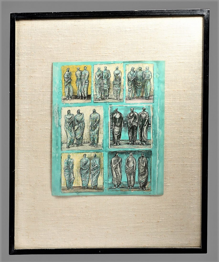 Henry Moore 1946 Sketches For Three, Lithograph