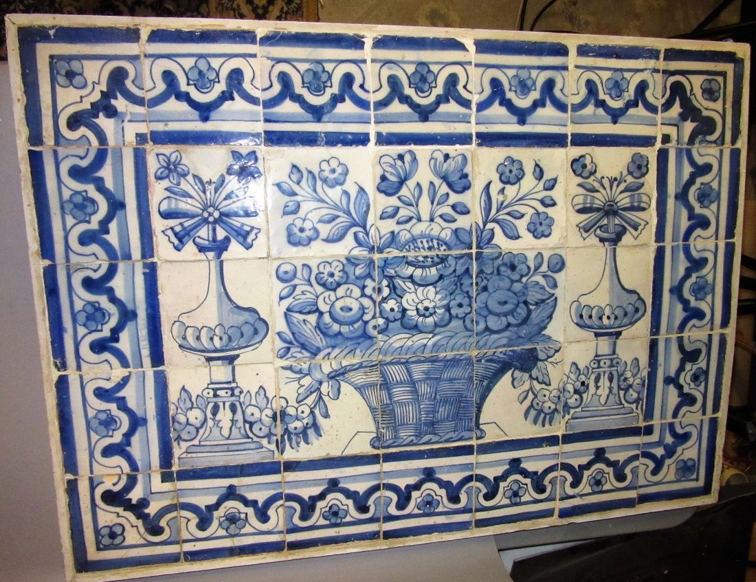 Antique Portuguese Blue and White Tile Basket of Flower