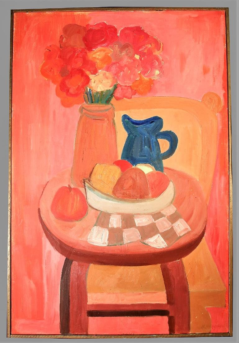 Hector Hernandez, Oil On Canvas Bodegon With Letter