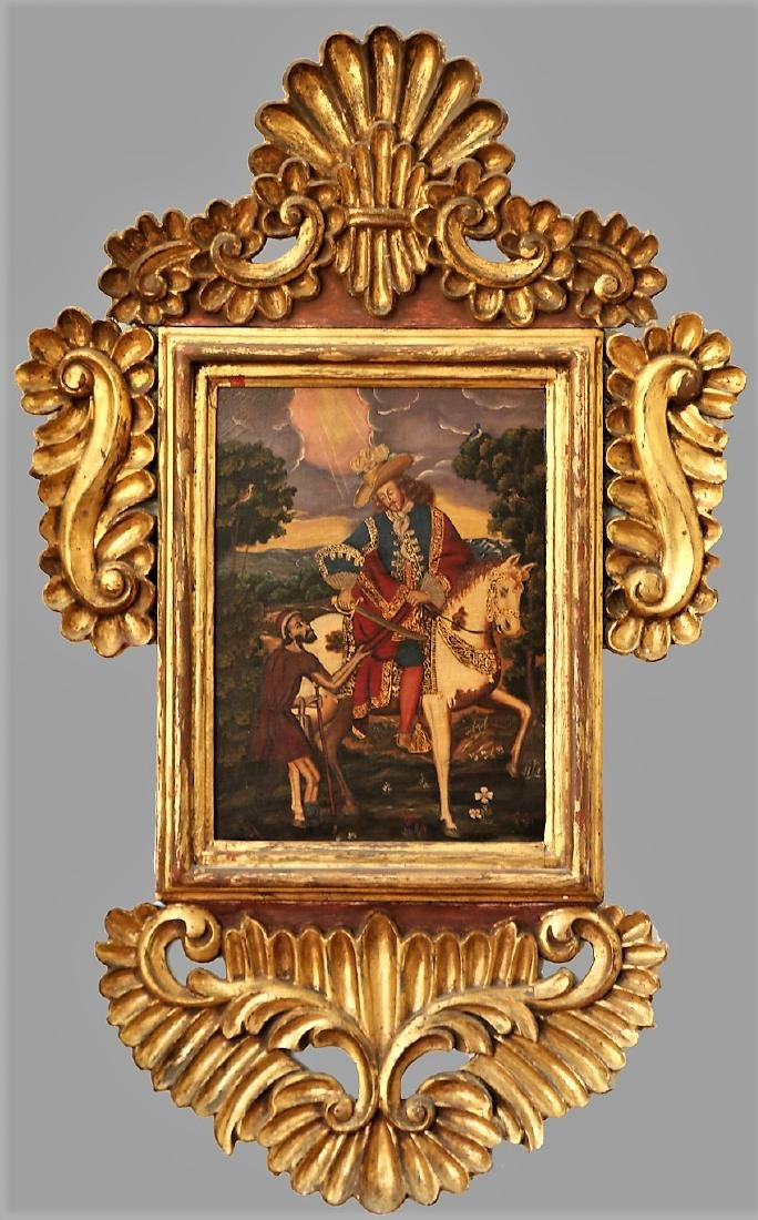 Antique Spanish Colonial Style Painting Conquistador