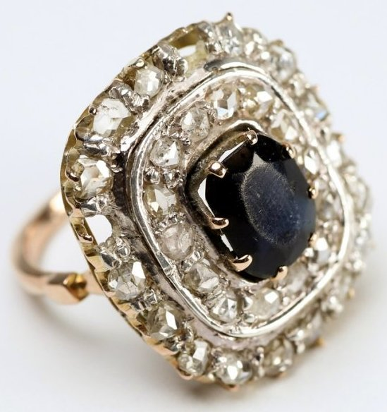 Beautiful Early 1900's 14K Diamond & Sapphire Ring