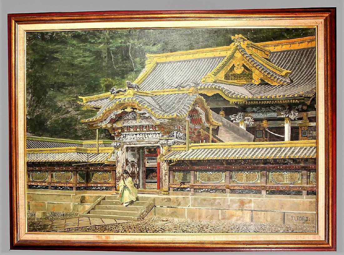 Bunsai Ioki Large Oil Painting Japanese 1863-1906