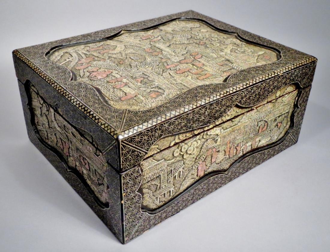 Rare Antique Korean Lacquer Box, with Paperwork Tang
