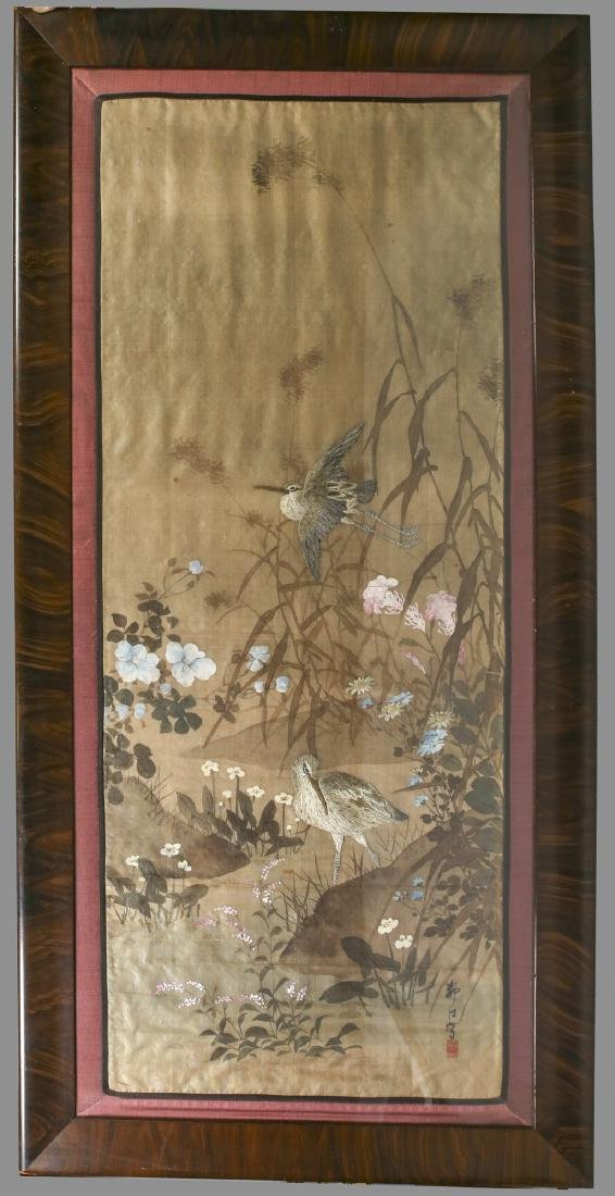 Japanese Silk Embrodary Panel, Hand Painted Artist