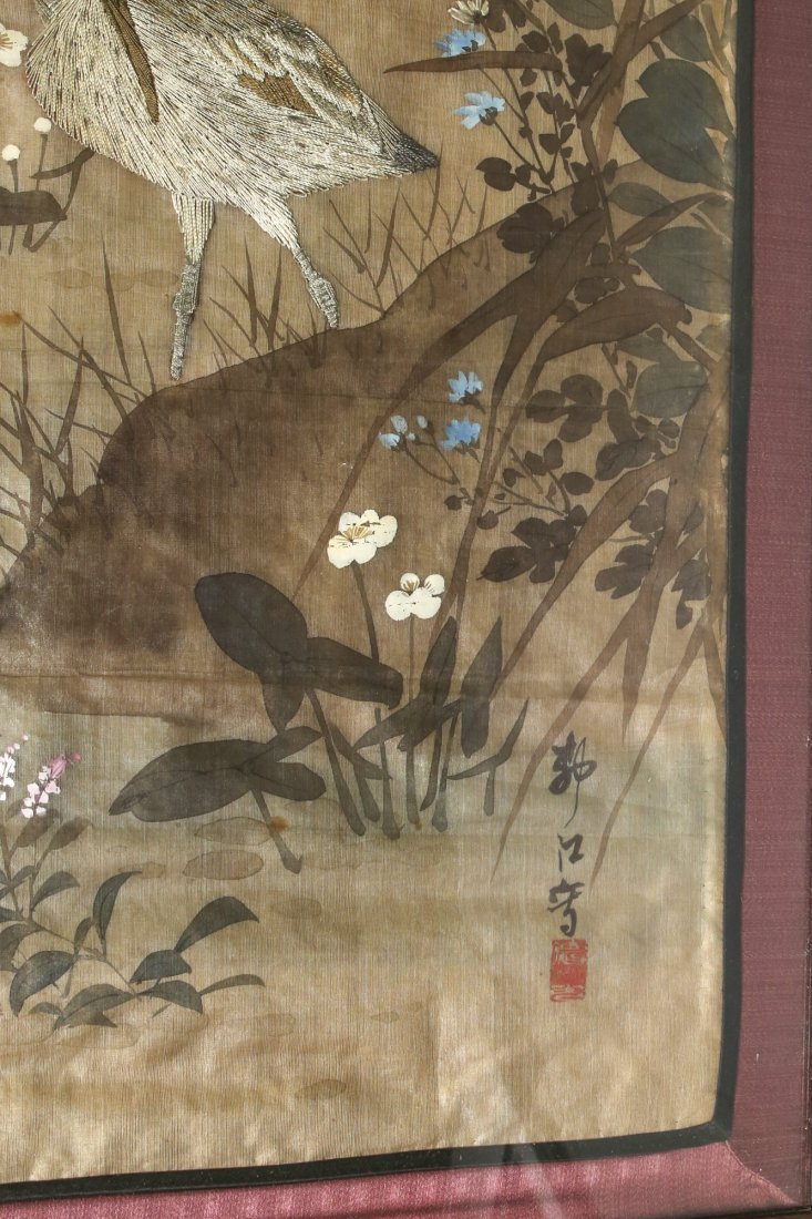 Japanese Silk Embrodary Panel, Hand Painted Artist - 2