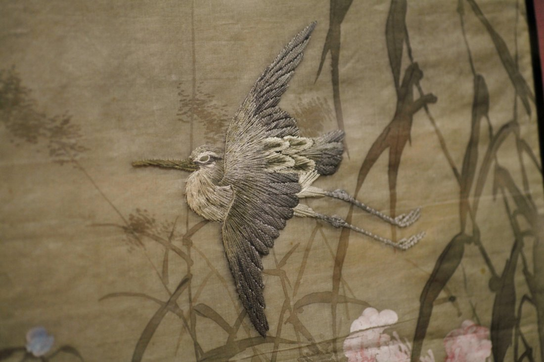 Japanese Silk Embrodary Panel, Hand Painted Artist - 3