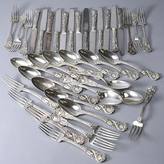 1892 Tiffany Sterling Flatware, St. James 39 pieces