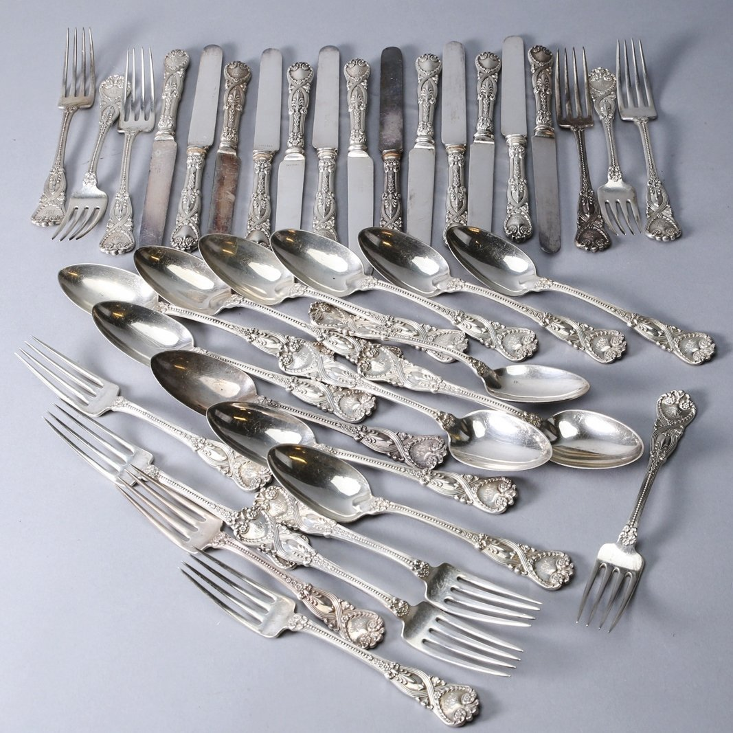1892 Tiffany Sterling Flatware, St. James 39 pieces - 2