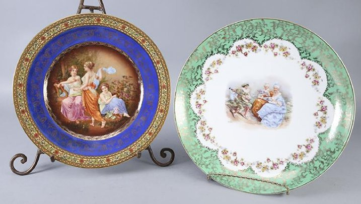 Two Antique European Porcelian Plates, Rembrant