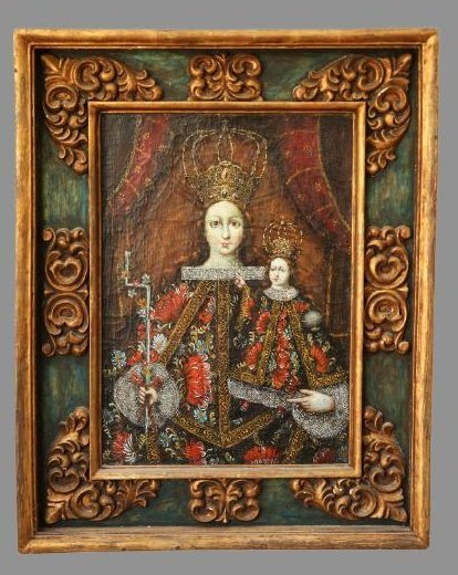Spanish Colonial Style Madonna And Child, Oil on Canvas