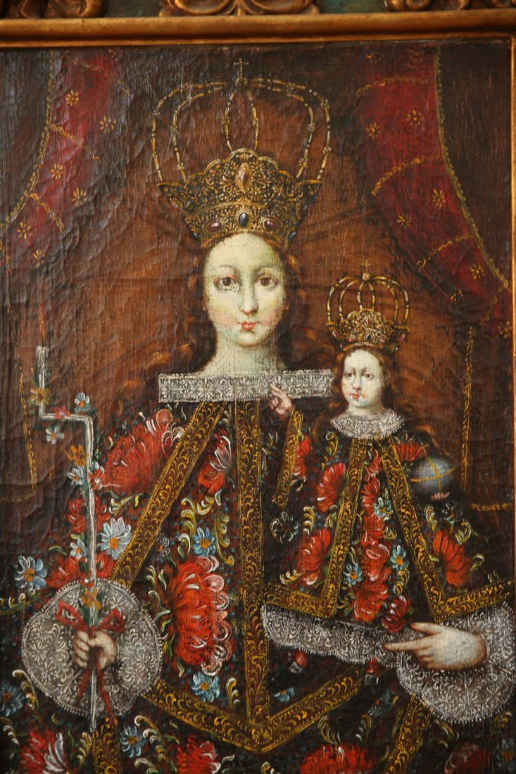 Spanish Colonial Style Madonna And Child, Oil on Canvas - 2