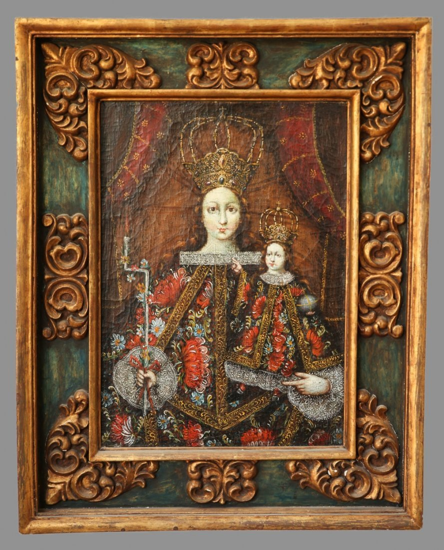 Spanish Colonial Style Madonna And Child, Oil on Canvas - 3