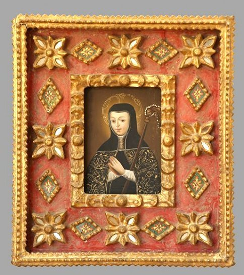 Spanish Colonial Style Painting Of A Saint Gilt Wood